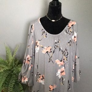 Gray and peach dolma sleeve top with open arms